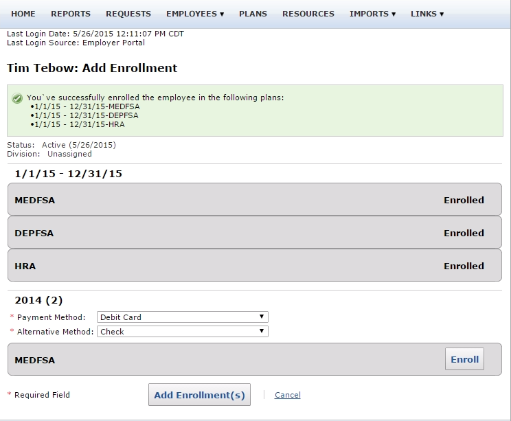 Add Enrollment Confirmation