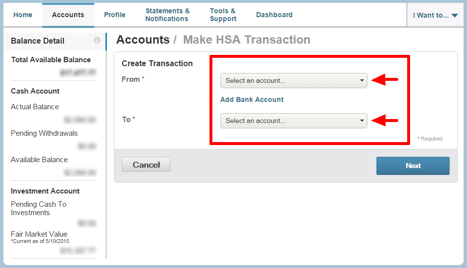 HSA Transaction Setup