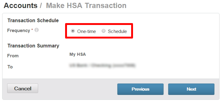 HSA transaction schedule