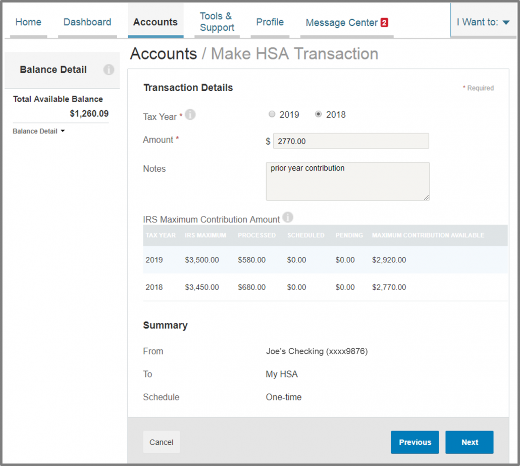 how to make a HSA transaction 7